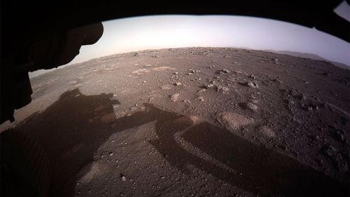 The first colour image sent by the Perseverance Mars rover after its landing.