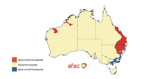 There's an 'above normal' fire risk for south-east Queensland and parts of northern New South Wales this Spring, Summer.
