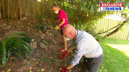 Mr Mitchell doesn't normally garden but decided to as an activity with his daughter. (9NEWS Exclusive)