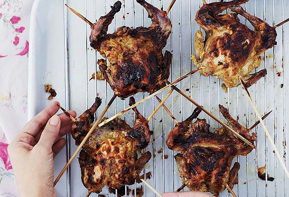 Anjum Anand's speedy barbecued spatchcocked quails
