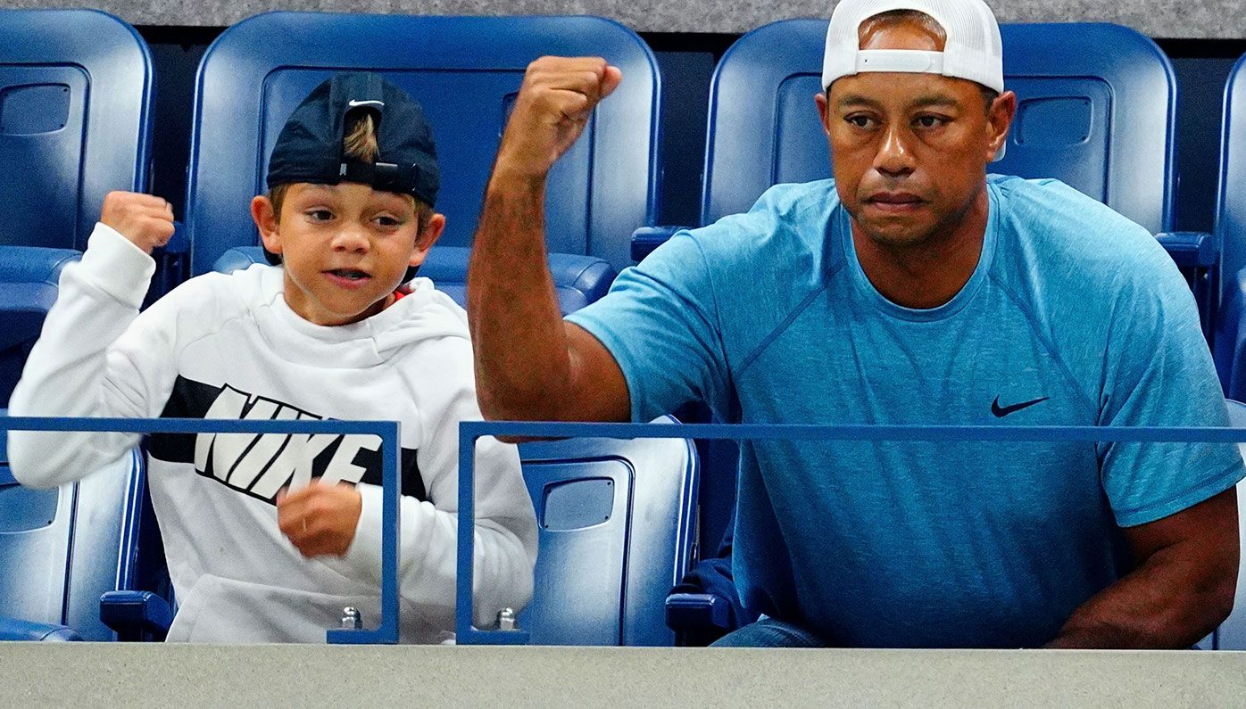 Tiger Woods with son Charlie.