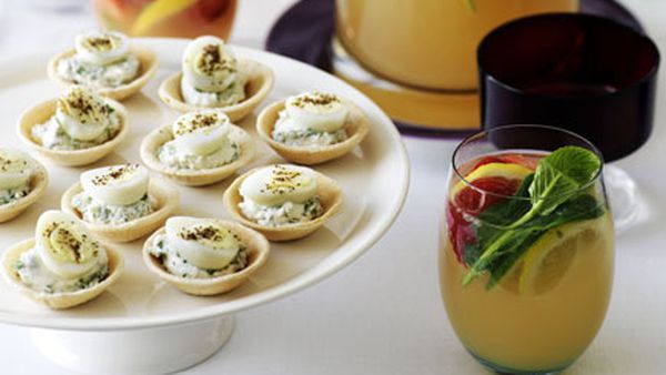 Goat's curd and quail egg tartlets