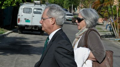 2011: US contractor Alan Gross is sentenced to 15 years in prison for importing banned computer technology, classes as actions against the national integrity of Cuba. Pictured is his wife, Judy, in Havana for the trial. Mrs Gross campaigned hard for her husband's release before he was freed today. (Getty)