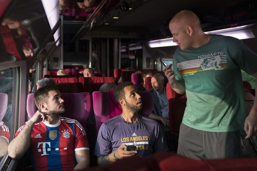 The three American tourists, off-duty military servicemen Spencer Stone and Alek Skarlatos, and their friend Anthony Sadler played themselves in the film. (AAP)
