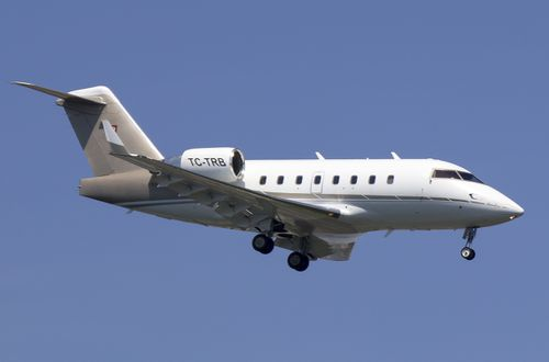 The Bombardier CL604 aircraft, with tail number TC-TRB, descends to land in Istanbul in 2016. (AAP)