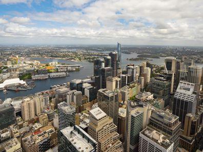 Views across Sydney from Bar 83, Sydney Tower, Sydney CBD.