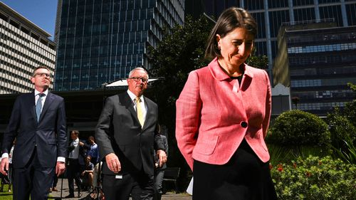 Gladys Berejiklian, Dominic Perrottet and Brad Hazzard front the media after the amazing ICAC bombshell information about the premier's relationship with Daryl Maguire.