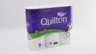 #1 Quilton Toilet Tissue Double Length Prints, $9.50; 9 pack, 3 ply