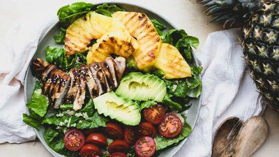"""Recipe: <a href=""""http://kitchen.nine.com.au/2016/11/18/15/17/teriyaki-chicken-and-grilled-pineapple-salad"""" target=""""_top"""">Teriyaki chicken and grilled pineapple salad</a>"""