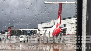 A Qantas flight has been diverted back to Sydney Airport after being struck by lightning this morning.