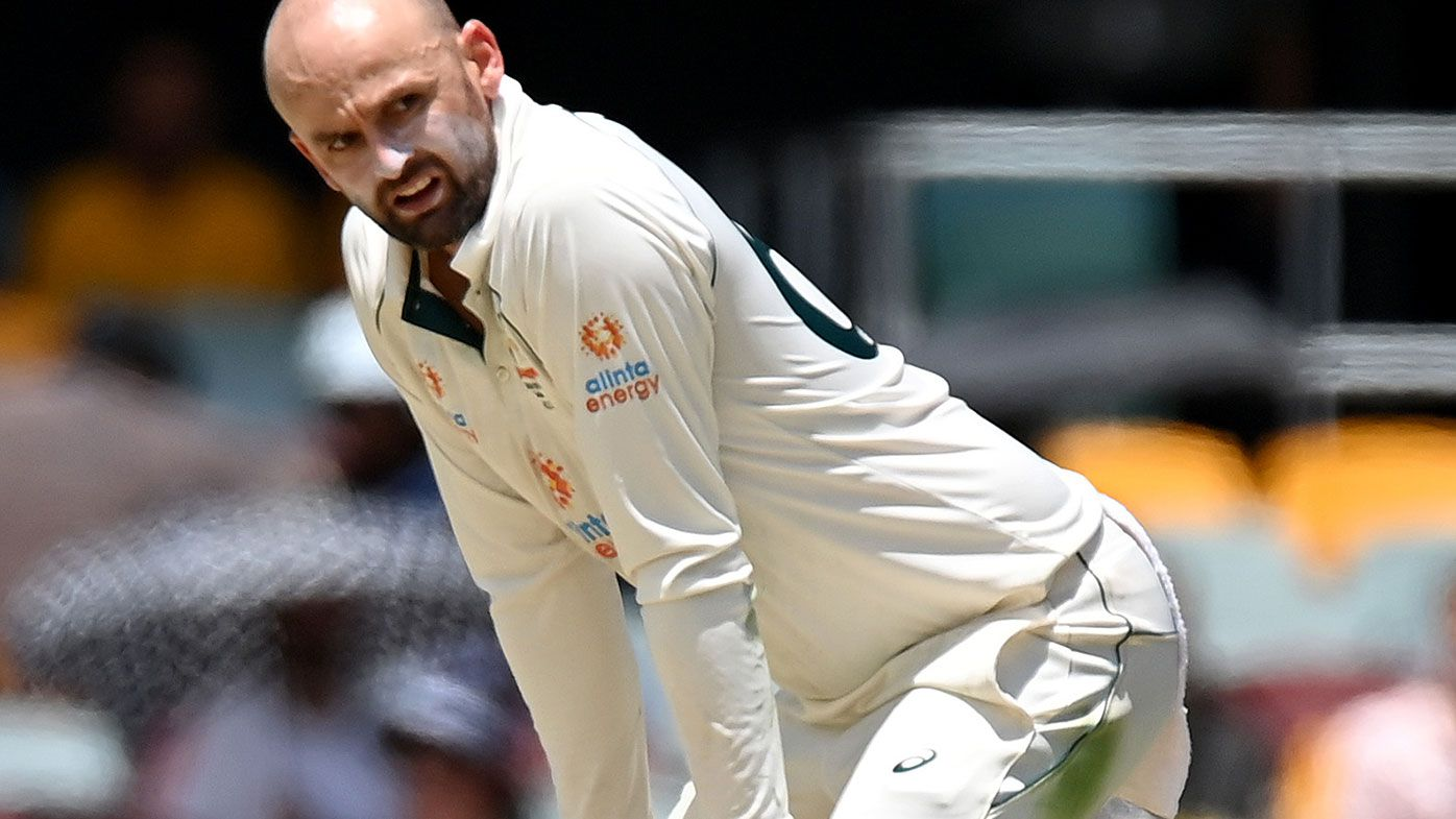 Nathan Lyon looks on in frustration on the final day in Brisbane.