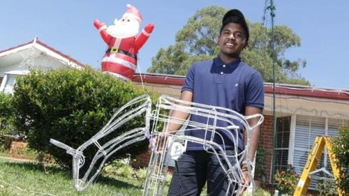 Donald Reddy, 18, has been putting on impressive Christmas lights at his family home since he was 13 years old.