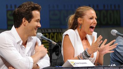 """Ryan reynolds and Blake Lively speaks at the """"Green Lantern"""" panel discussion during Comic-Con 2010 at San Diego Convention Center on July 24, 2010 in San Diego, California."""