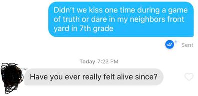 Woman matches with first kiss on Tinder