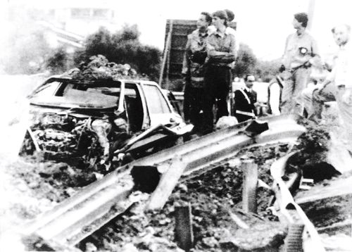 The remains of Italian judge Giovanni Falcone's car, which was blown up in May 1992, in retaliation for his conviction in 1987 of more than 300 mafia members. Mr Falcone, his wife, a fellow magistrate and three bodyguards died in the explosion.