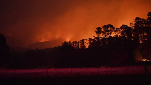 The fire burns north of Bells Line of Road in Berambing on Monday morning.