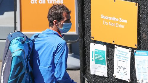 Tennis players are seen entering the Quarantine zone as they arrive to train at Melbourne Park on January 20, 2021 in Melbourne, Australia.