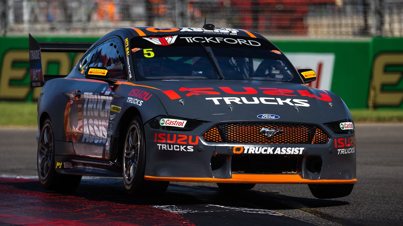 Tickford Racing's Lee Holdsworth in action in Adelaide.