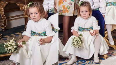 Mia Tindall in Princess Eugenie and Jack Brooksbank's official wedding portraits, October 2018