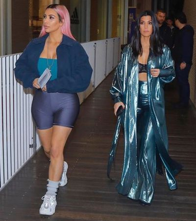 Kim Kardashian-West in Los Angeles with sister Kourtney Kardashian in January, 2018