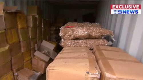 Ten tonnes of tobacco allegedly illegally imported into Melbourne were uncovered. (9NEWS)