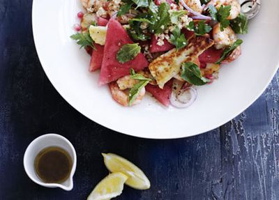 "Recipe: <a href=""http://kitchen.nine.com.au/2016/05/17/13/15/prawn-haloumi-and-watermelon-salad"" target=""_top"">Prawn, haloumi and watermelon salad</a>"