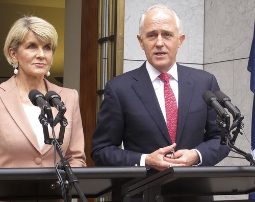 Australian Liberal Party deputy leader Julie Bishop, left, and Prime Minister Malcolm Turnbull address reporters at Parliament House