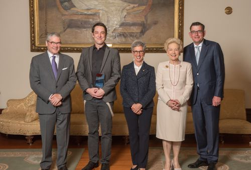 Actor Samuel Johnson (second left), with Governor of Victoria Linda Dessau (centre) and Victorian Premier Daniel Andrews (right) during a ceremony at Government House in Melbourne yesterday. (AAP)