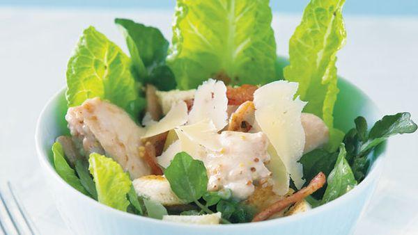 Warm chicken mayo salad