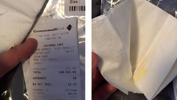 Sydney man buys new pair of pants online only to find used napkin and receipt in pocket