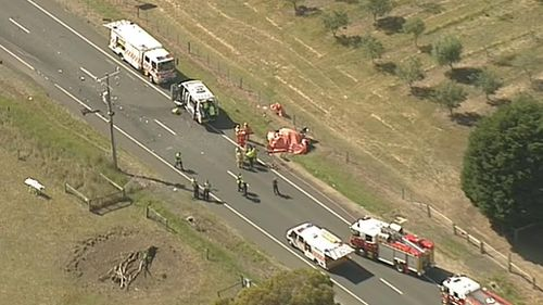 A man has died after his car collided with a minibus near Geelong today. (9NEWS)