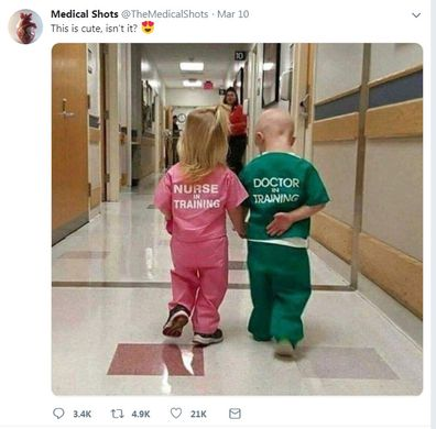 Photo of children in medical scrubs sparks outrage