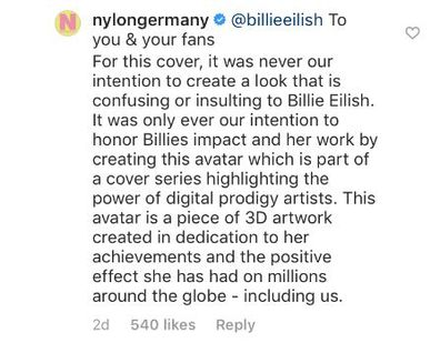 Billie Eilish, Nylon Germany, cover, Instagram comments