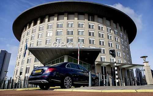 A file photograph of the headquarters of the Organisation for the Prohibition of Chemical Weapons (OPCW) in The Hague, The Netherlands.