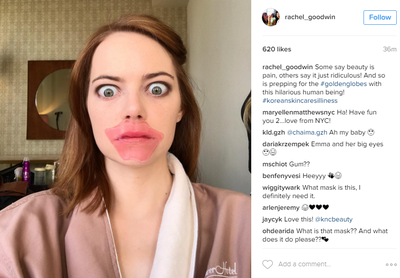 <p>The Golden Globe Awards are almost here and soon champagne corks will be popping. In the meantime though, the world's most glamorous stars are preening and prepping their way to red-carpet perfection.</p> <p>Hair pieces are being combed, pores are being steamed and skin is being hydrated. Masks are firming, nails are drying and golden tans are settling.</p> <p>Here, a sneak peek at what our all-time fave celebs are doing by way of hair, skin and all things beauty prep.</p> <p>Take it away Emma Stone.</p> <p>Image: <em>Instagram</em>/@Rachael_Goodwin</p>