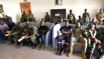 A delegation of mutineer soldiers wait at the deputy prefect's residence in Bouake, Ivory Coast, on January 7, 2017, for talks with the Defence Minister one day after soldiers rose up and seized control of Ivory Coast's second city. (AFP)