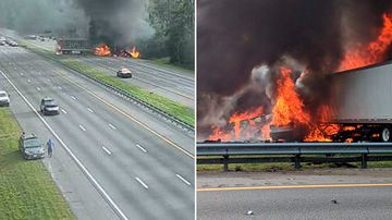 Five children heading to Disney World in a church van have died along with two truck drivers in fiery crash in north Florida. the Florida Highway Patrol said.