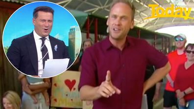 Karl Stefanovic stitched-up by weather presenter Tim Davies