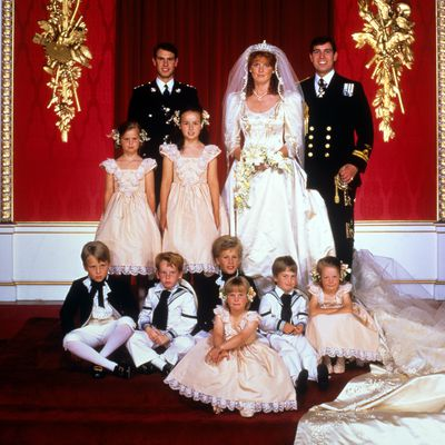 Zara serves in Andrew and Sarah's royal wedding, 1986