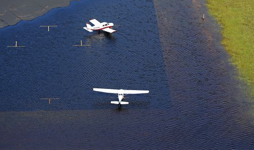 Airplanes sit in floodwaters at Curtis Brown Field in Elizabethtown, North Carolina.