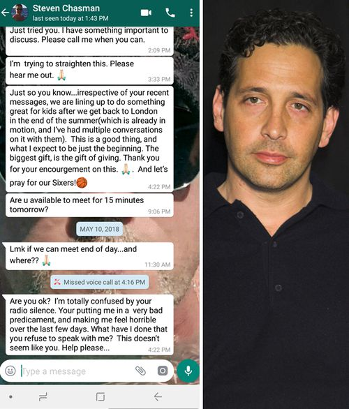 Photo of What's App messages sent by man known as Steven Chasman to R.J. Cipriani, dated May 2018. Steven Chasman (right) is actor Jason Statham's manager. (Supplied)