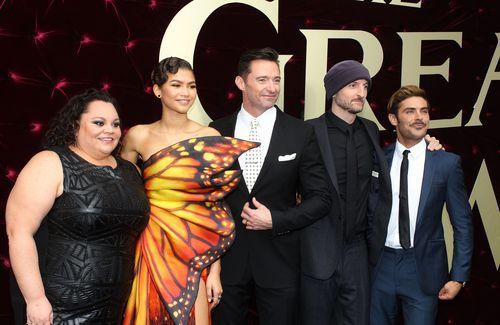 Keala Settle, Zendaya, Hugh Jackman, director Michael Gracey, and Zac Efron at the Australian premiere of The Greatest Showman. (AAP)