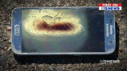Ms Barwick said the phone started heating up, began smouldering and eventually exploded. Picture: 9NEWS
