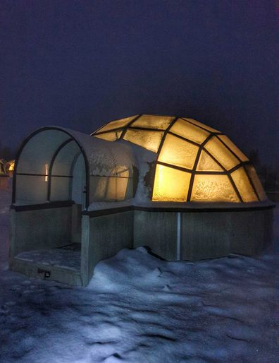 Glass igloo in Finnish Lapland