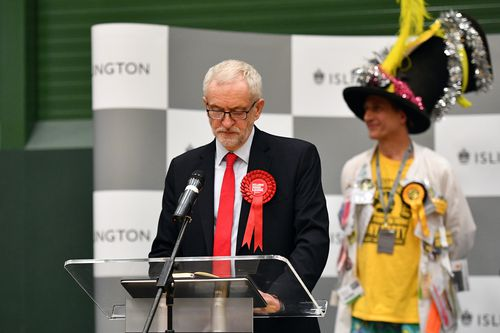 LONDON, ENGLAND - DECEMBER 12: Jeremy Corbyn, leader of the Labour Party, speaks after the vote declaration in his Islington North constituency on December 12, 2019 in London, England. Corbyn, who has held the Islington North seat since 1983, retained his seat but is expected to step down as party leader, as Labour was expected to suffer a decisive defeat by the Conservatives, led by Prime Minister Boris Johnson. The Prime Minister called the first UK winter election for nearly a century in an a