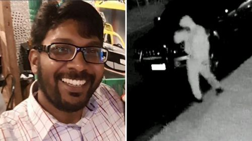 Abdul Mohammed (left) and CCTV showing a suspect in his murder investigation (right).