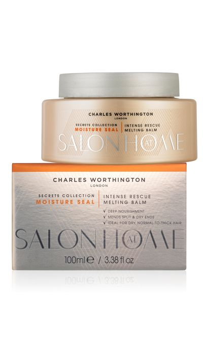 "<a href=""https://www.priceline.com.au/charles-worthington-secrets-collection-intense-rescue-melting-balm-100-ml"" target=""_blank"">Secrets Collection Intense Rescue MeltingBalm, $10, Charles Worthington</a>"