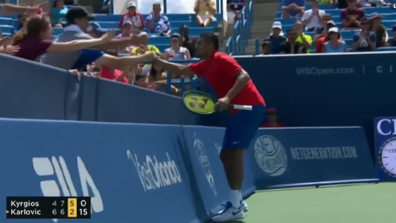 Kyrgios high fives crowd after thumping winner