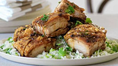 "Recipe:&nbsp;<a href=""http://kitchen.nine.com.au/2016/05/19/12/36/crisp-pork-belly-lemon-rice-with-broadbeans"" target=""_top"">Crisp pork belly &amp; lemon rice with broadbeans</a>"