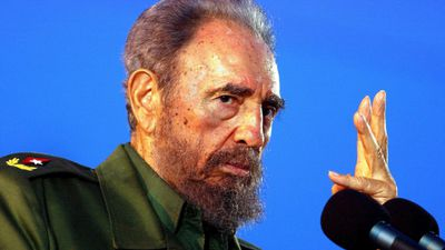 A  photo dated 26 July 2006 of Cuban leader Fidel Castro during a public appearance in the city of Holguin, Cuba. (AAP)